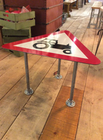 Tractor Road Sign Coffee Table With Scaffold Pole Legs